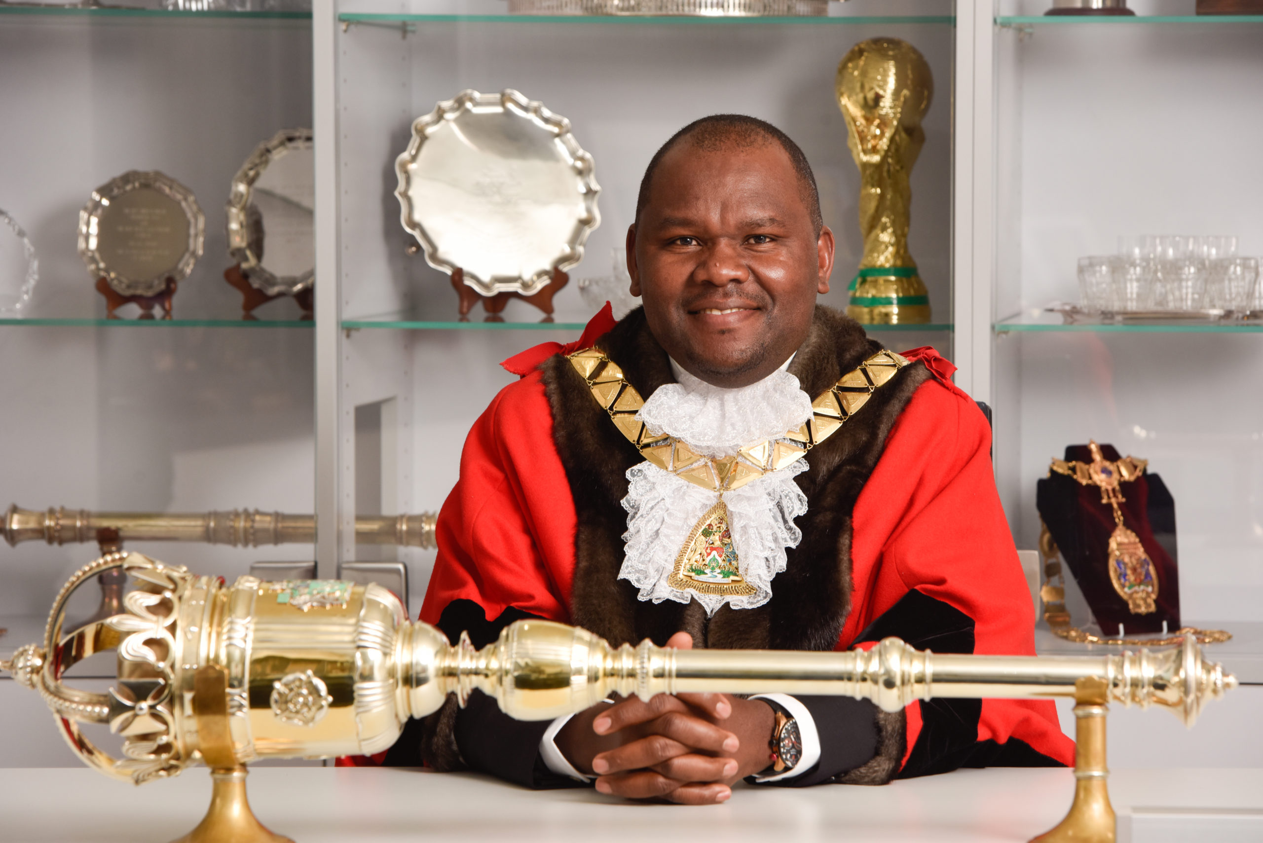 The Mayor of Brent at his desk
